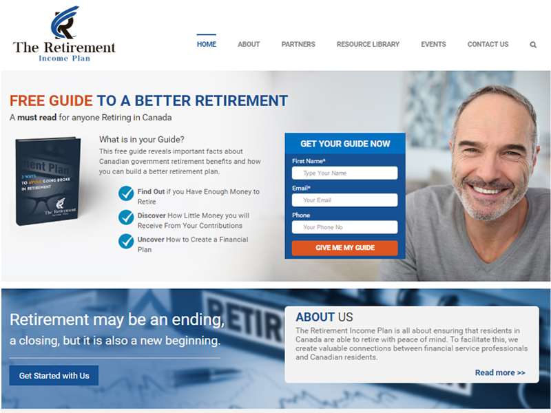 Retirement free guide landing page designed by 360 Integral Marketing